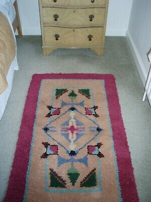 """RUSTIC Vintage COUNTRY COTTAGE hand crafted wool RUG 48 x 28"""".Interior designers"""