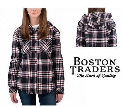 95527aa45c11 Boston Traders Ladies  Sherpa Lined Hooded Flannel Jacket Black Plaid