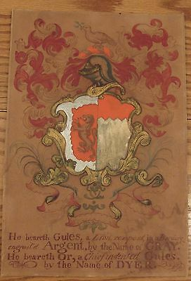 """Antique hand painted heraldry sign DYER 10""""x15"""" Lion rampant painting"""