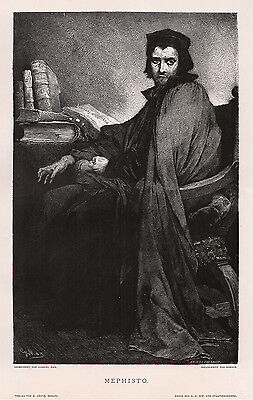 """GABRIEL MAX 1800s Woodcut """"Mephisto in Faust's Clothes"""" Framed SIGNED COA"""