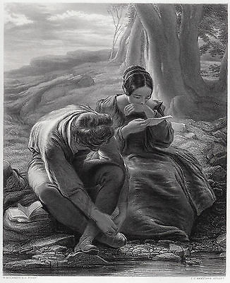"""Awesome 1800s William MULREADY Antique Engraving """"Young Love"""" Framed SIGNED COA"""
