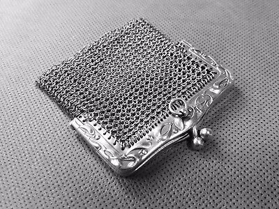 Beautiful Little Antique French SOLID Silver Hallmarked DOUBLE Bag Coin Purse