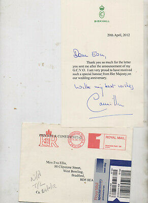 Signed letter from Camilla, (Duchess of Cornwall) dated 20 April 2012.