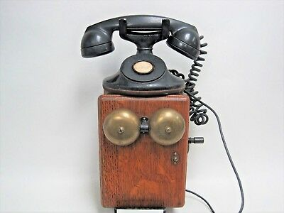 Antique 315H Bell System Western Electric F1 No-Dial Telephone Oak Ringer Box