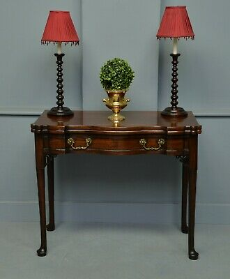 Georgian Serpentine Mahogany Side / Fold-Over Tea-Table