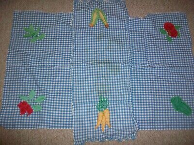 2 Vintage Blue White Check Embroidered Applique Vegetables Table Runner Cloth