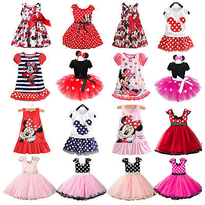 Kids Girls Minnie Mouse Tutu Dress Party Holiday Dresses Summer Sundress Outdoor
