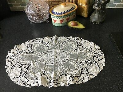 Beautiful Antique Lace Table Centre Topper Tray Cloth
