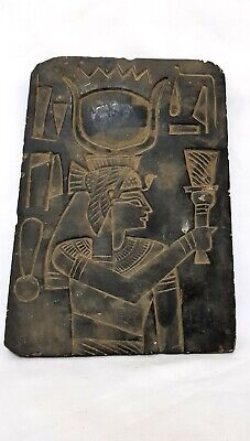 Rare Egyptian Isis Relief Wall Sculpture Plaque Holding Hieroglyphics carving