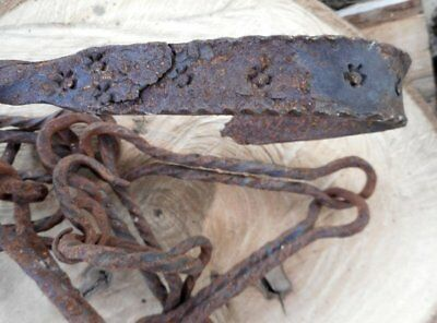 Antique Primitive 18th c. Rare Hand Forged Wrought Iron Hearth Fireplace Chain