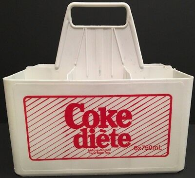 Vintage 1970's Diet Coke White Plastic 6 Pack Carrier Canada French Advertising