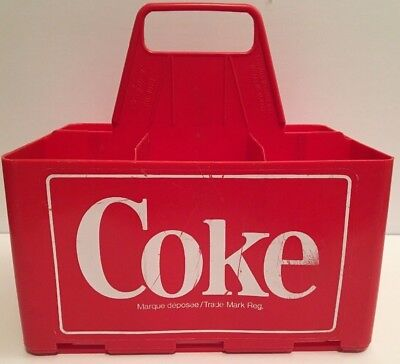 Vintage 1970's Coca Cola Red Plastic 6 Pack Carrier Canada RARE Advertising