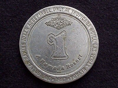 "$1 Slot Gaming Token -- 1987 Tropicana Resort Casino -- Las Vegas -- ""Obsolete"""