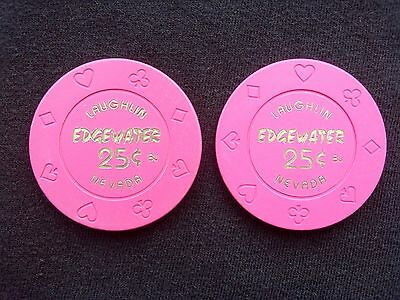 "Lot Of 2 - 25 Cent Casino Chip - Edgewater Casino - Laughlin, Nv - ""Collectible"""
