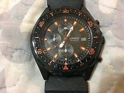 Casio AMW-370 Men's Black Analog Multi-Function Watch Needs Battery