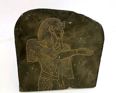 Rare fantastic Faience Ramses Plaque Wall Egyptian Ancient Isis Anubis Tablet