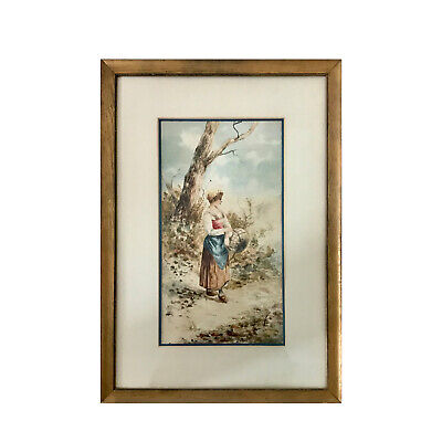 19th Century Watercolor Landscape With Figure