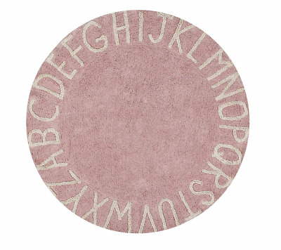 Lorena Canals Round ABC Vintage Washable Rug, Cotton Nude, 150 x 150 x 30 cm