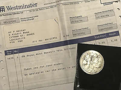 Commemorative 1996 £5 (Five Pound)  Coin - WESTMINSTER MINT - PROOF OF PURCHASE