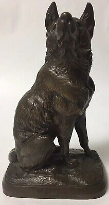 Vintage Solid Bronze Dog Sculpture Statue, Signed A. Latry