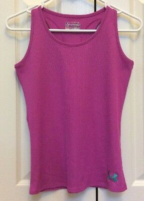 Girls Under Armour Fitted Ribbed Sleeveless Tank Top Heat Gear Dark Pink  YLG