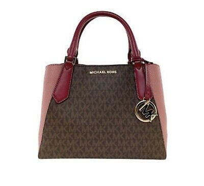 2d7f0c7aab3e Michael Kors Kimberly Small Satchel Brown/Mulberry Crossbody Multi-Way  Handbag