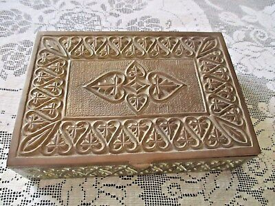 Antique Vintage Brass Box, Deeply Cast Decoration Jewellery, Keepsakes, Cigars
