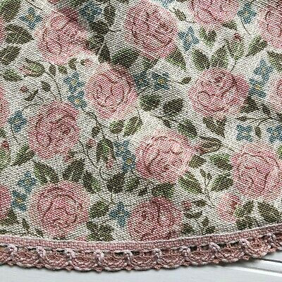 "Floral Tablecloth Made in Austria Cotton Linen Blend Pink Roses Shabby 64"" Round"