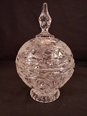 German Crystal Hand Cut & Etched Roses Ball Shaped Lidded Pedestal Bowl Candy