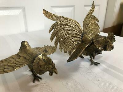 Vintage Set of Cast Brass Fighting Cock/Roosters Pair Sculpture