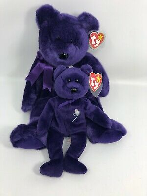 Ty Purple Beanie Babies Princess Diana Momma & Baby Bear New With Tags1998-1997