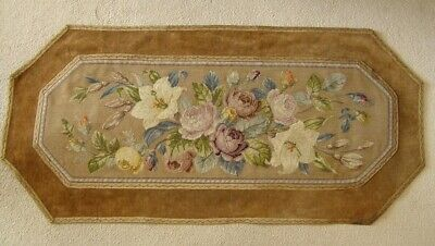 Antique Aubusson Tapestry Floral Table Runner