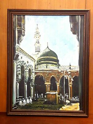 Depicition Of Very Old Masjid Al Nabwi Mosque Painting Mecca Medina Islamic Art