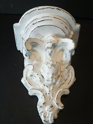 GORGEOUS~Vintage Wall Shelf Sconce~FACE of CHERUB~ANGEL~Ornate Chippy WHITE