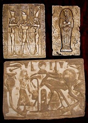 Lot of 3 Ancient Egyptian Wall Fragments King Tut, Isis