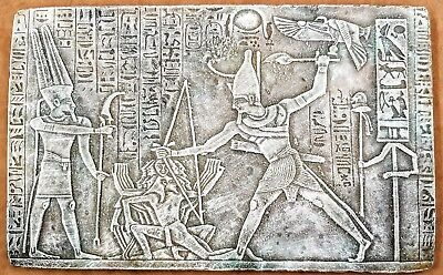 Ancient Egyptian Wall Tablet Plaque Ramses Tut Isis Anubis Horus