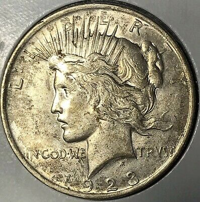 1923 Peace Silver Dollar! ABOUT UNCIRCULATED+++ ORIGINAL COIN!!! SHARP STRIKE!!!