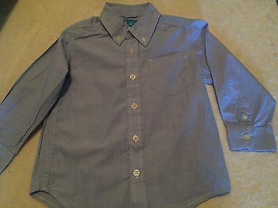 New The Children's Place Boys Blue Oxford Cloth Button-down LS Dress Shirt 4T