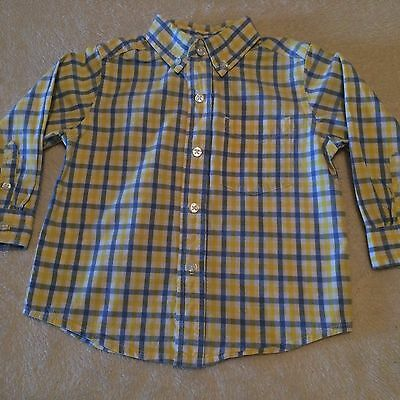 New The Children's Place Toddler Boys Blue Yellow Button-down Dress Shirt 18M