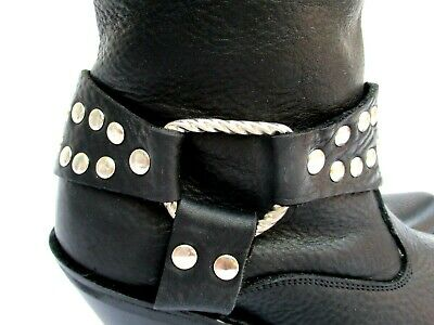 DOUBLE H..BLACK..PEBBLED LEATHER..HARNESS..ANKLE..WESTERN..BOOTS..WOMEN sz 6 NEW