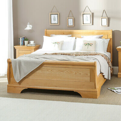 French Classic Oak 4ft 6in Double Size Sleigh Bed - Bedroom - CF04