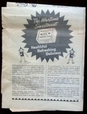 Genuine Vintage Advertising 1940s Wrigley's Chewing Gum WW2 Original Wartime Ads