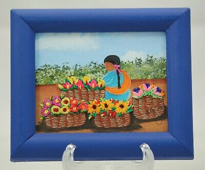 Frames w/ Hand Painted Backgrounds Embroidered Flowers & Blue Mexican Folk Art