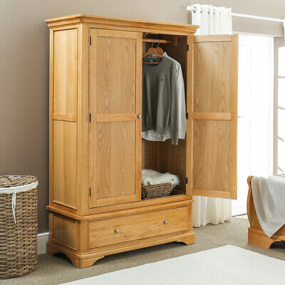 French Farmhouse Oak 2 Door Double Wardrobe with Drawer - Bedroom Furniture CF12