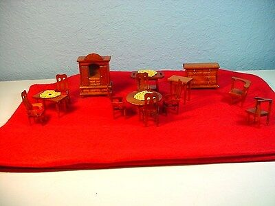 Doll Furniture Miniature Wooden Vintage Style Dining Room Hutch Tables 14PC Set
