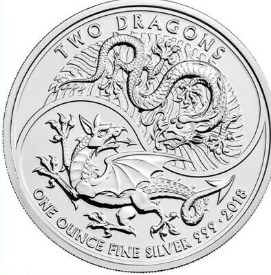 2018 Great Britain British 1 oz Silver Two Dragons BU In Capsule Mythological