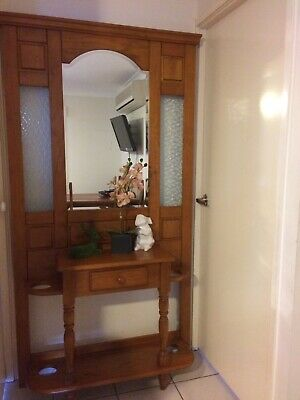 Vintage hall stand - carved timber panel with mirror and glass panels.