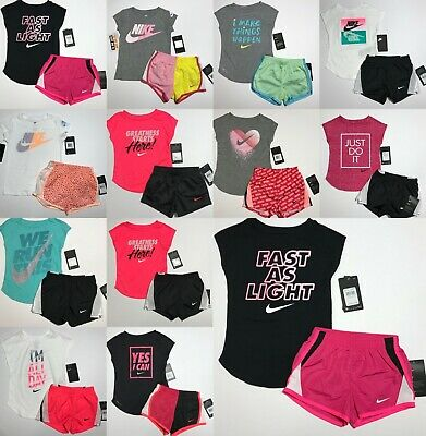 Nike Toddler Girls 2 Pc Tee Shirt & Dri Fit Shorts Set You Pick!!! 2T 3T 4T