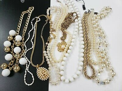 0d5ee87c3da46 LOT OF 10 Vintage Gold Tone Faux Pearls Costume Jewelry Necklaces
