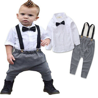 3PCS Baby Boys Shirt Tops + T-Shirt + Suspender Jeans Set Kids Stylish Outfits